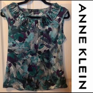 EUC-ANNE KLEIN watercolor print blouse